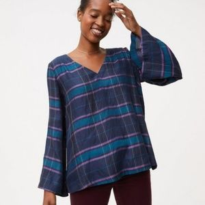 LOFT Plaid Bell Sleeve Double V Neck Top Small